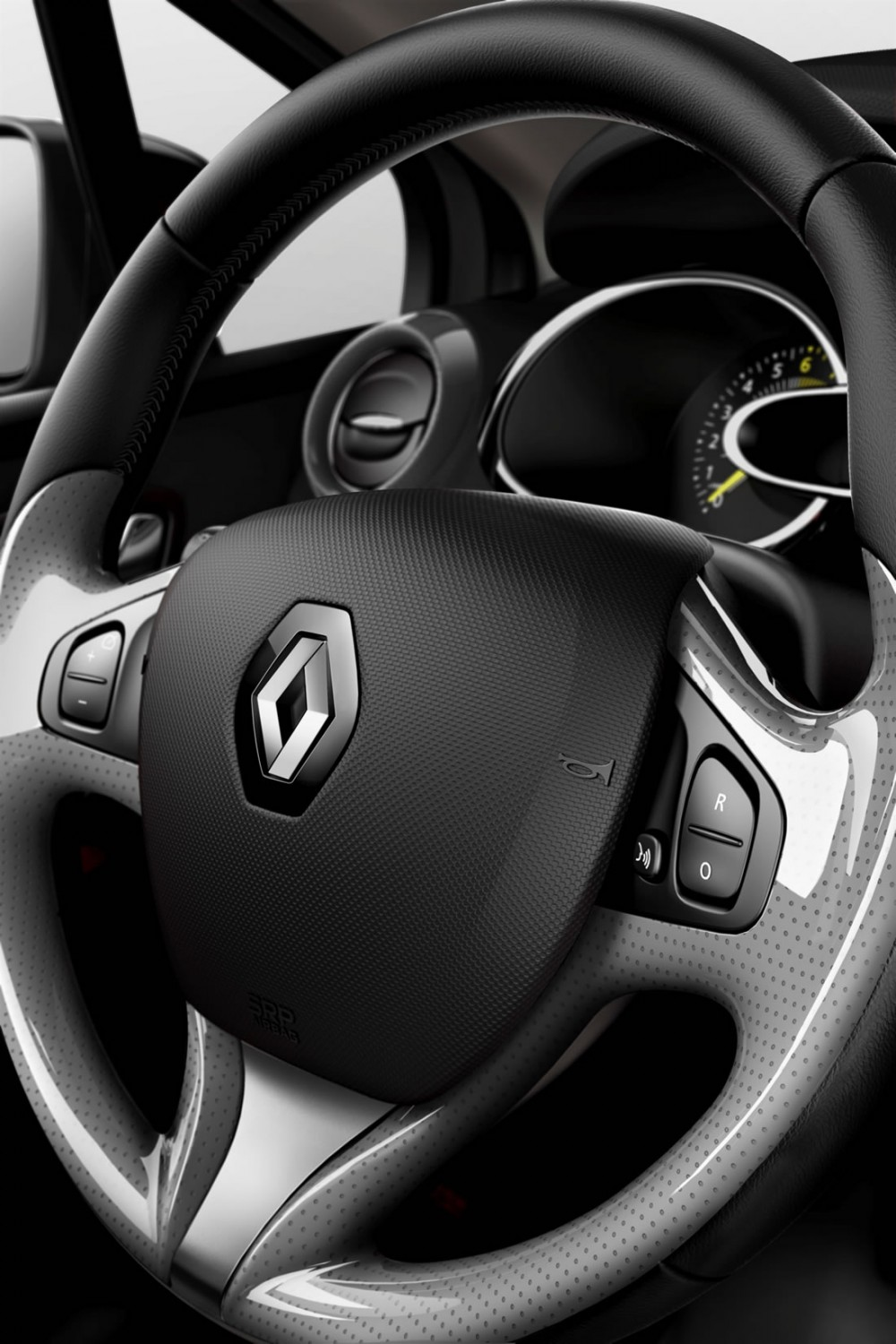The steering wheel of the new Renault Clio 4