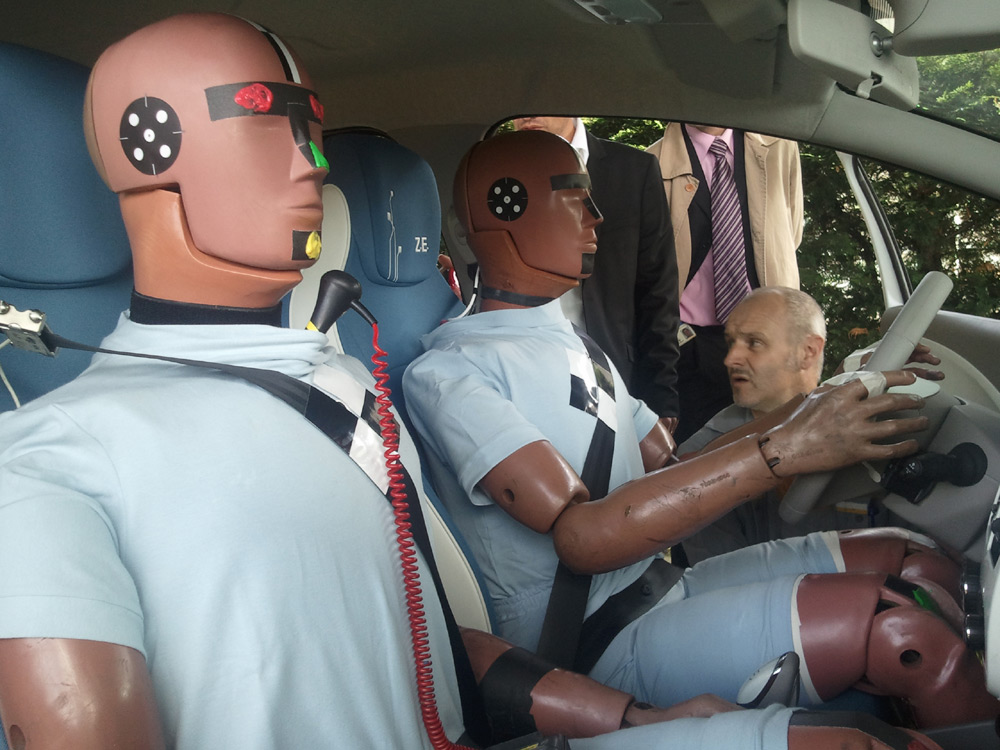 The Renault Zoe crash test dummies