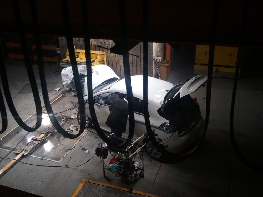 La zone de crash-test de la Renault ZOE
