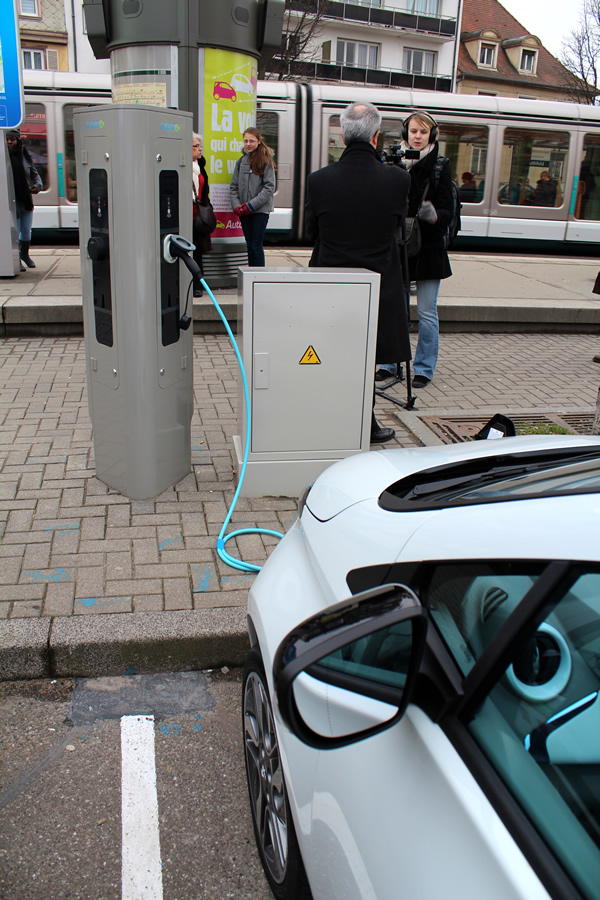 We used one of these brand new charging points.
