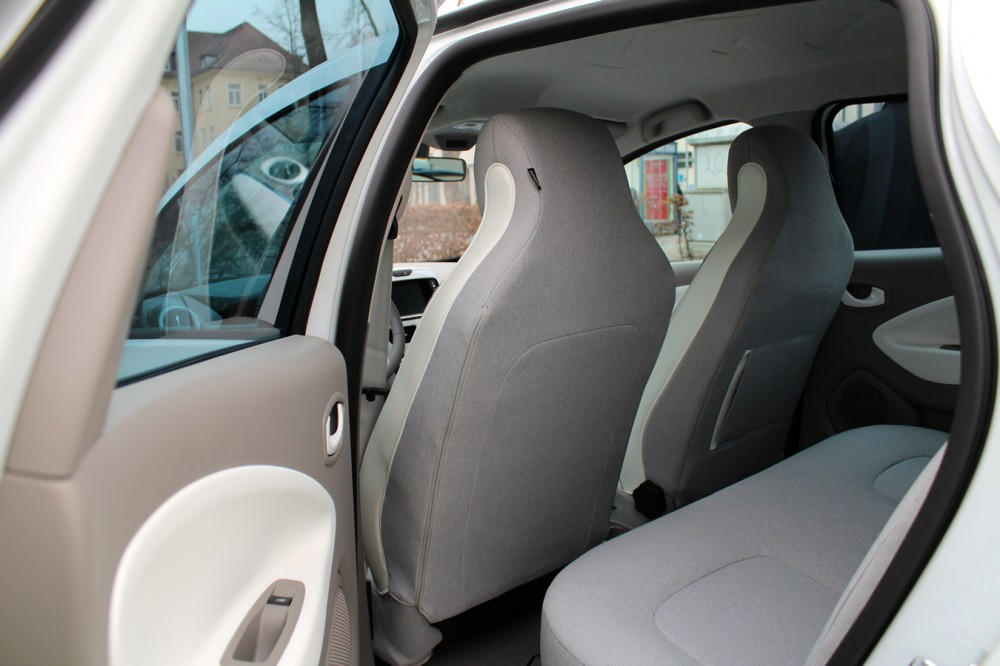 The car's backseats and interior.