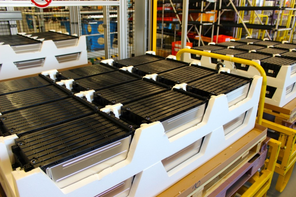 A stock of battery modules, at Renault's factory in Flins