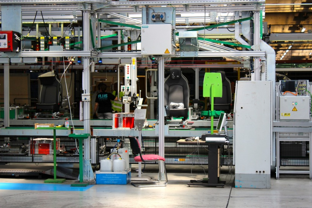 A Renault ZOE's seat being fabricated in Flins