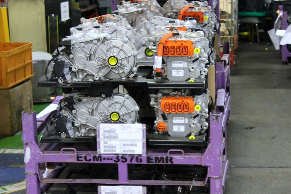 A stock of elements for the Renault ZOE's electrical engine
