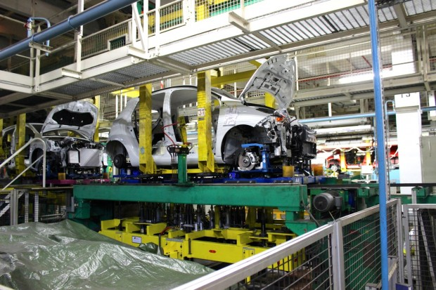 A Renault ZOE on an assembly line in Flins's plant.